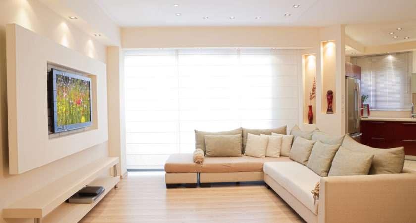 Cream Color Sofa Set Lcd Wall Unit Ipc