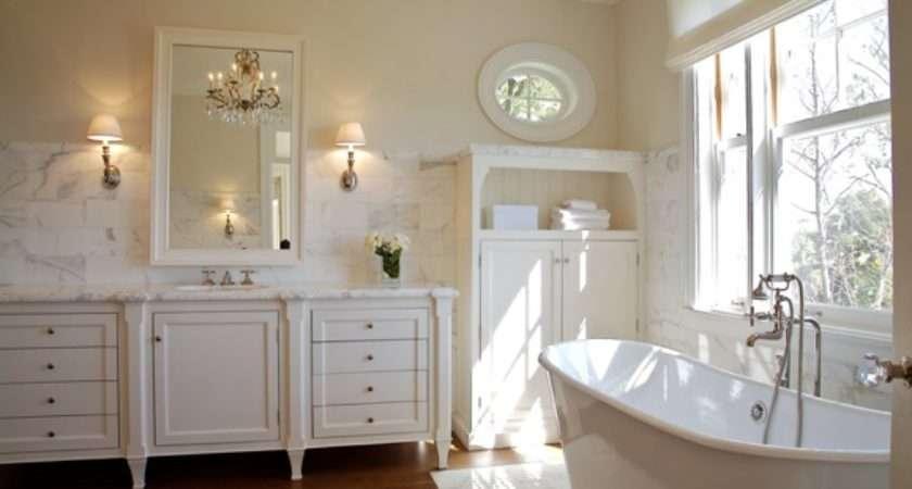Cream Wall Paint Transitional Bathroom Farrow Ball