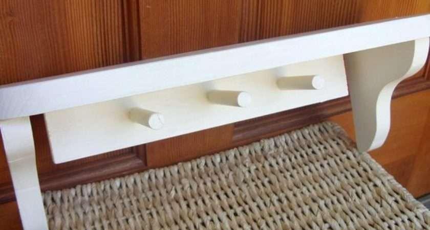 Creamy White Cottage Style Wall Shelf Wood Shabbynchic