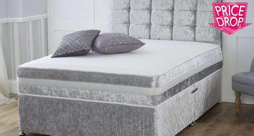 Crushed Velvet Divan Bed Memory Foam Mattress