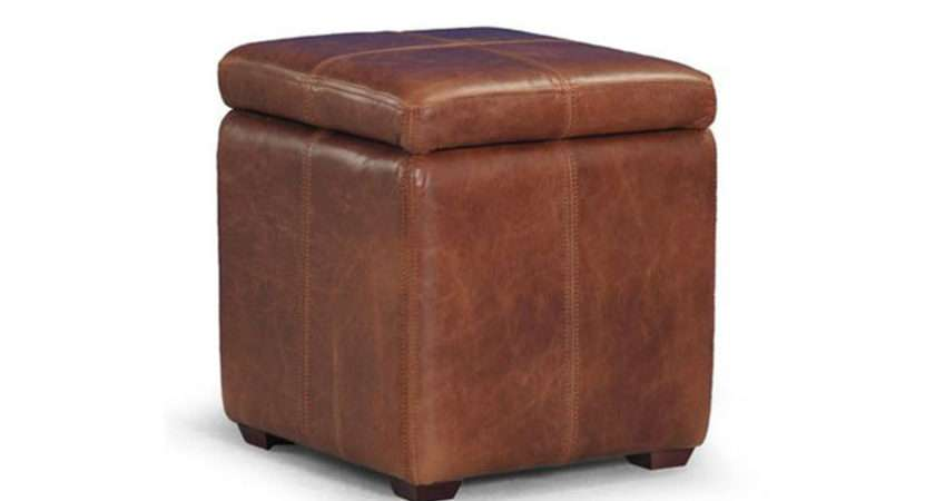 Cube Aniline Leather Footstool Storage Mocha Only