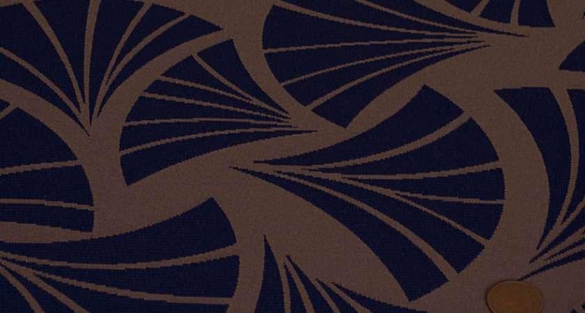 Curtain Fabrics Italian Art Deco Trevira Blue Polyester Damask