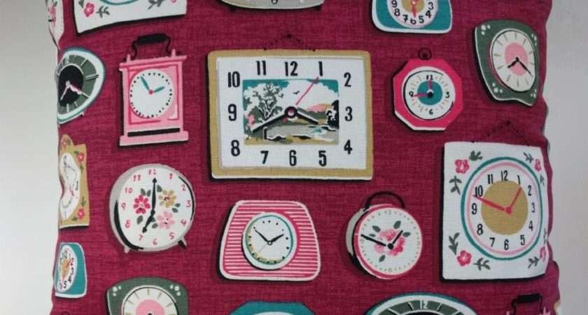 Cushion Cover Cath Kidston Clocks Purple Red