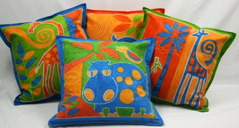 Cushion Cover Children Brightly Coloured Hand Painted