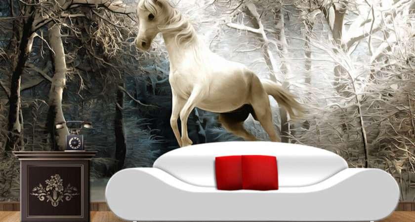Custom Horse Winter Forest Murals