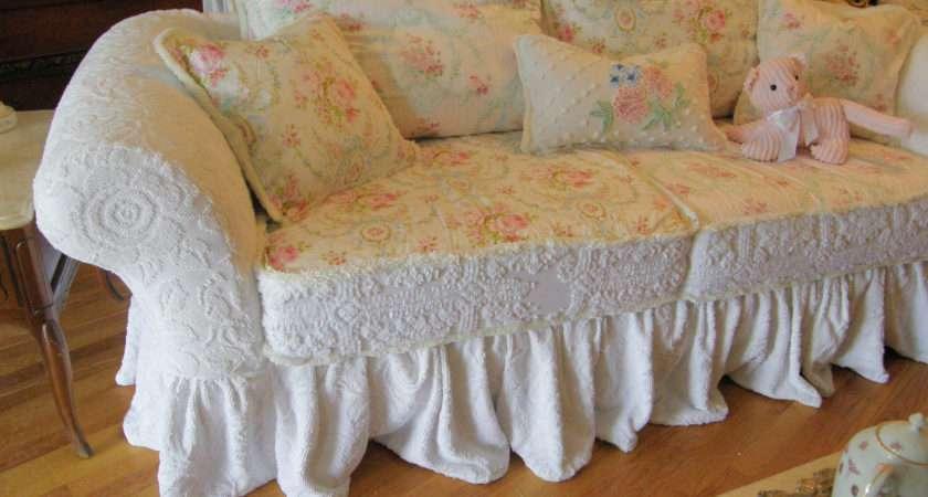 Custom Shabby Sofa Chic Chenille Bedspread Vintagechicfurniture