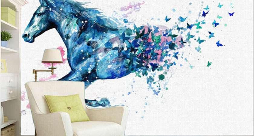 Custom Wall Painting Watercolor Horse