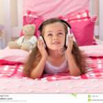 Cute Girl Listening Music Bedroom