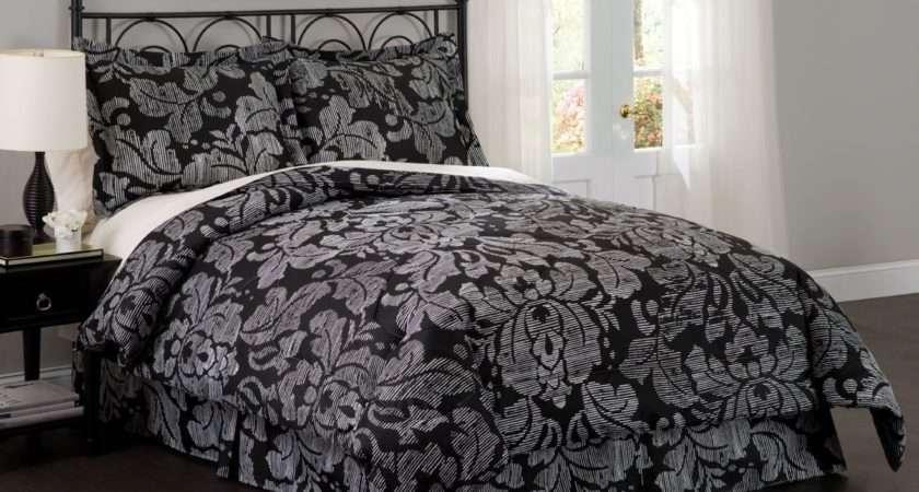 Damask Bedroom Gray Blue