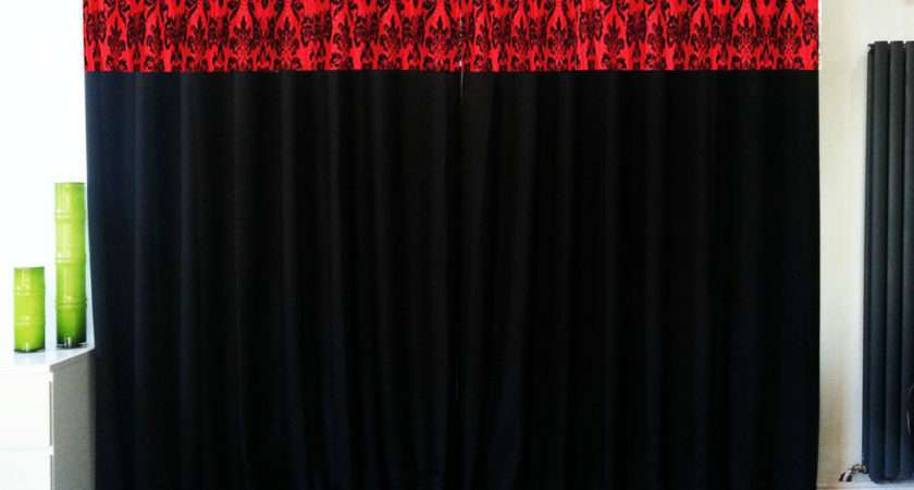 Damask Fully Lined Ring Top Eyelet Curtains Black Red Sizes Ebay