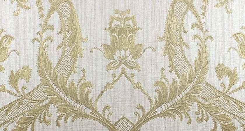 Damask Glitter Cream Gold