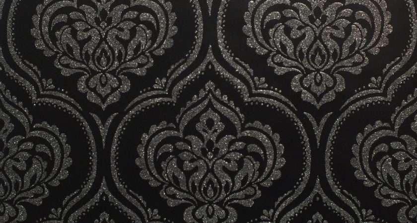 Damask Glitter Sparkle Shimmer Modern Black