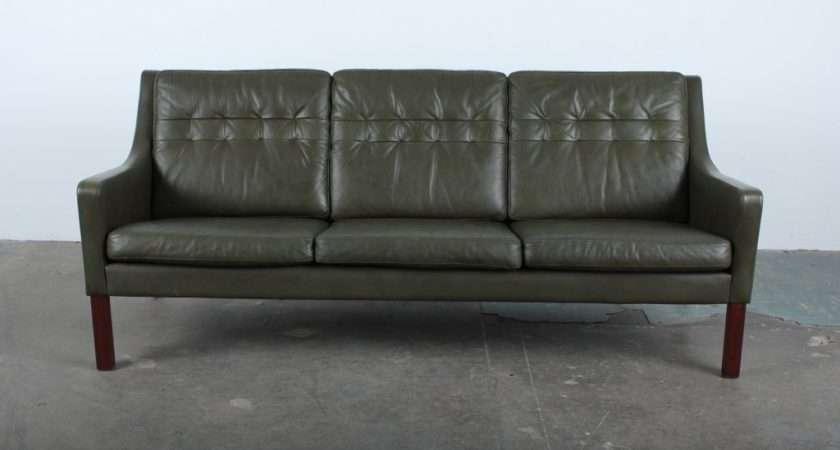Danish Mid Century Modern Green Leather Sofa Stdibs