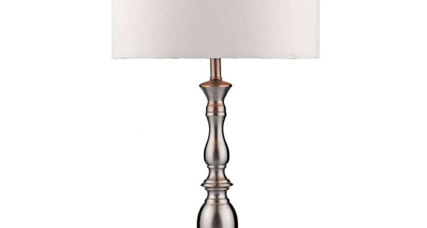 Dar Lighting Madrid Table Lamp Satin Chrome White