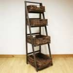 Dark Brown Tier Wooden Ladder Shelf Display Unit