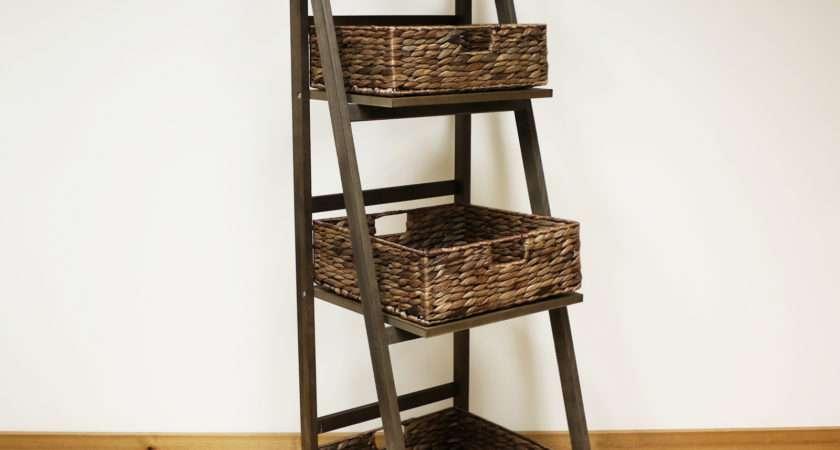 Dark Brown Tier Wooden Ladder Shelf Display Unit