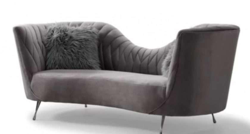 Dark Grey Velvet Salon Low Back Sofa