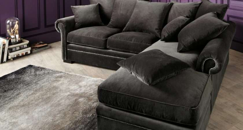 Dark Grey Velvet Sectional Couch Chaise Pillows
