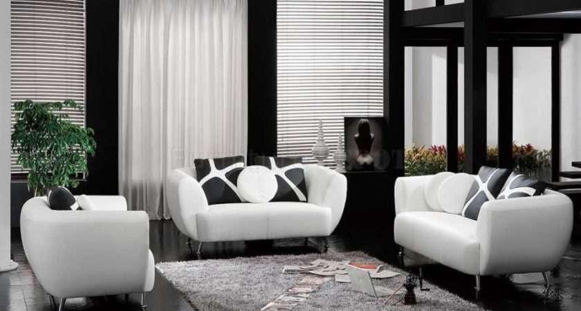 Dark Living Room Furniture Black White Leather