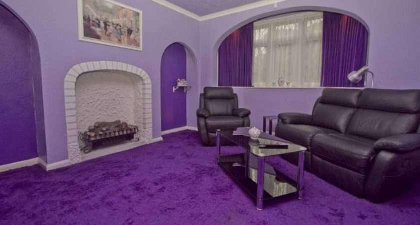 Dark Purple Alcoves Complement Lavender Walls