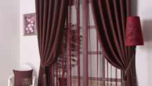 Dark Red Curtains Silver Bar Elegant Modern