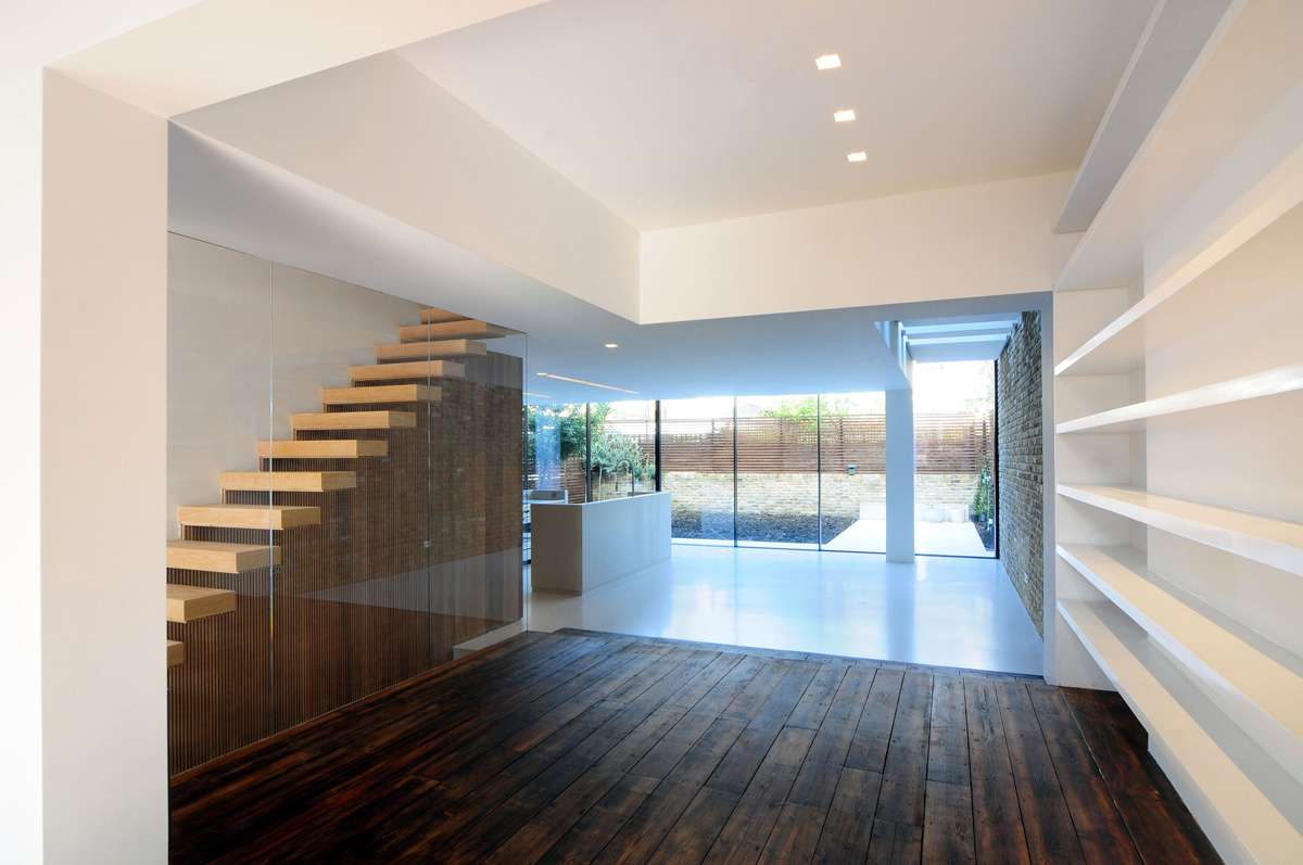 Dark Wood Flooring Stairs Glass Wall Modern Home London