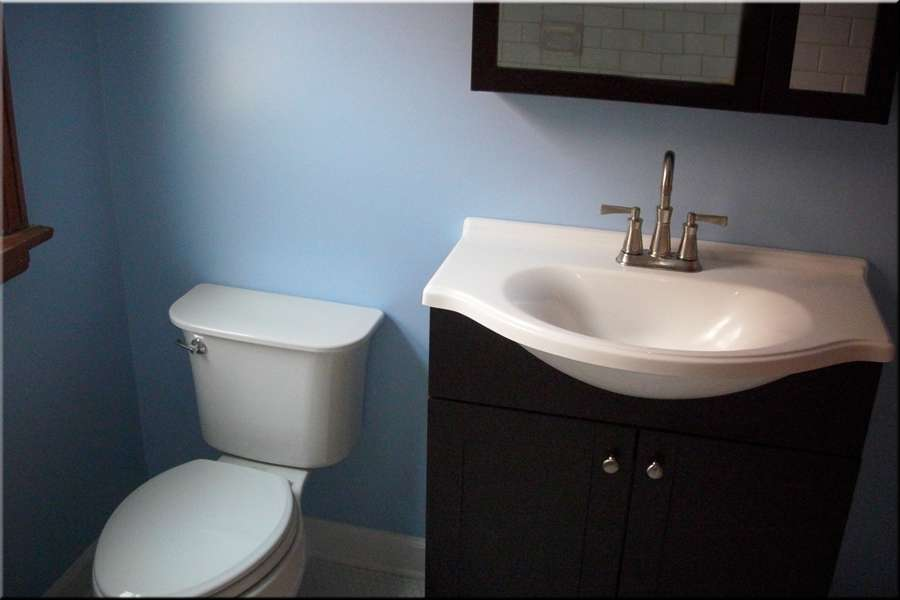 Dark Wood Stand Powder Room Bathroom Remodeling Project