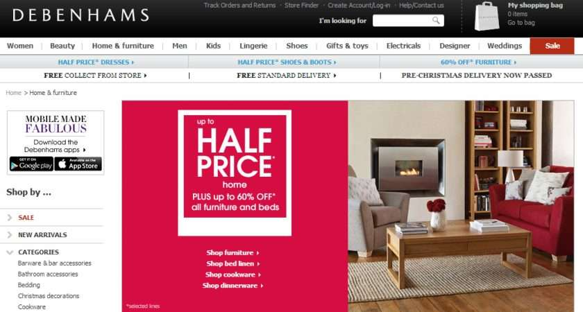 Debehams Biggest Ever Half Price Furniture Debenhams