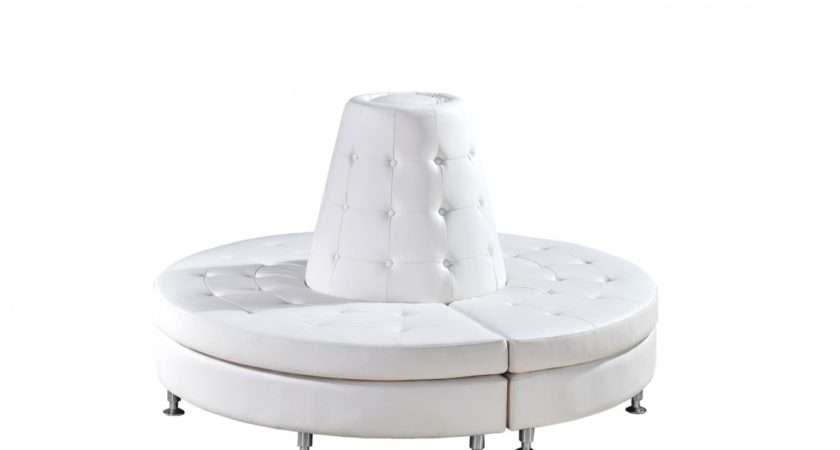 Deco Series Circular Banquette White Leather Round
