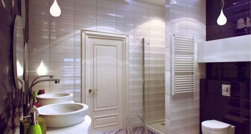 Decor Unique Bathroom Modern Themed Floor Idea