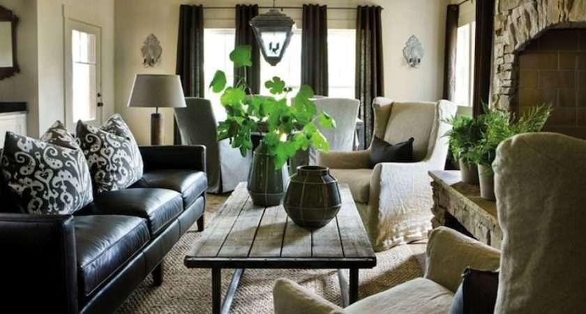 Decorate Living Room Black Leather Sofa