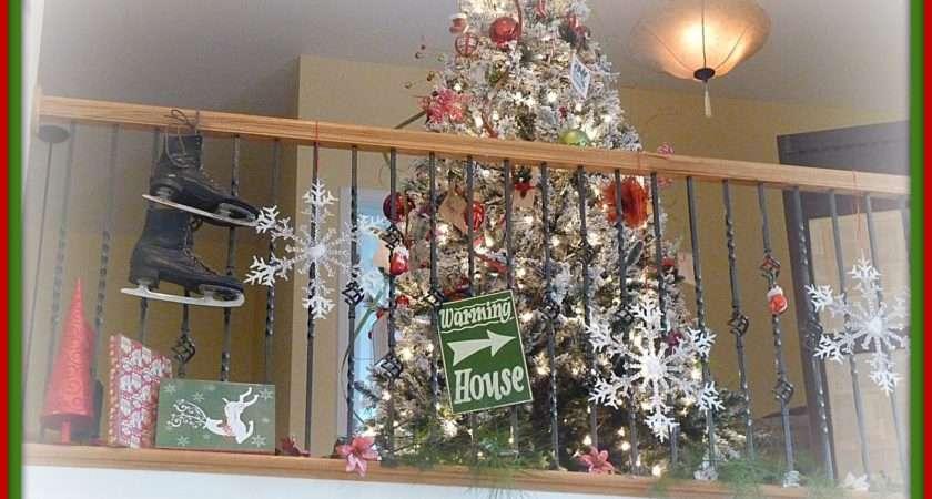 Decorating Banister Christmas Holiday Debbiedoo