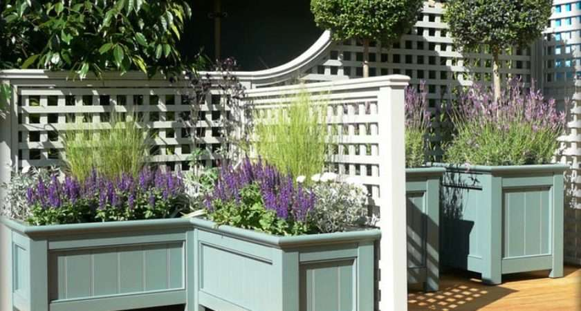 Decorative Trellis Planter Boxes Stained Sealed Wooden Deck