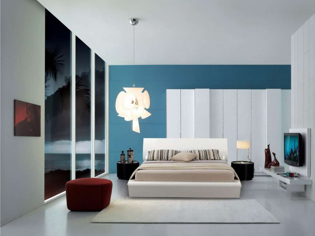 Design Bedroom Pattern Ideas Featuring White Blue Wall