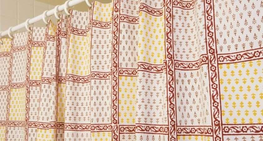 Designer Fabric Shower Curtain Curtains Red Hand Block
