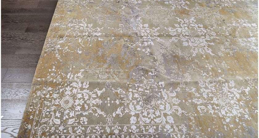 Designer Reserve Gold Hand Knotted Wool Silk Rug