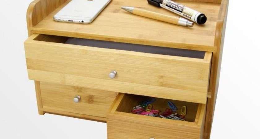 Desk Organiser Drawers Bamboo Office Supplies