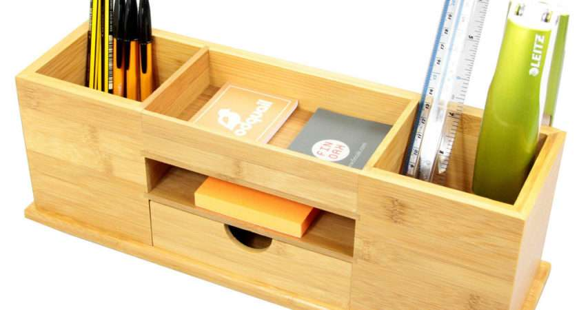 Desk Tidy Drawer Wide Stationery Organiser Natural
