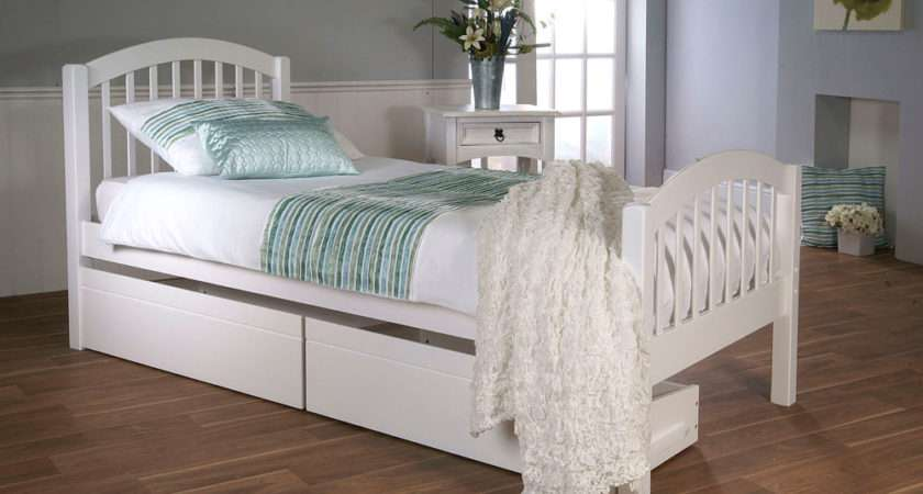 Despina Single White Wooden Bed Only Furniture Choice