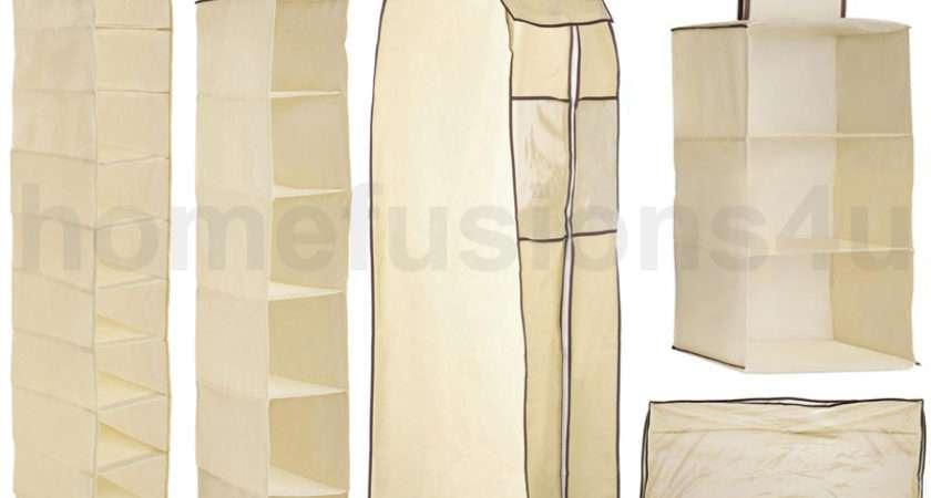 Details Cream Hanging Wardrobe Shoe Garment Underbed Organiser