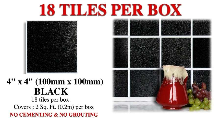 Details Peel Stick Black Wall Tiles Transfers