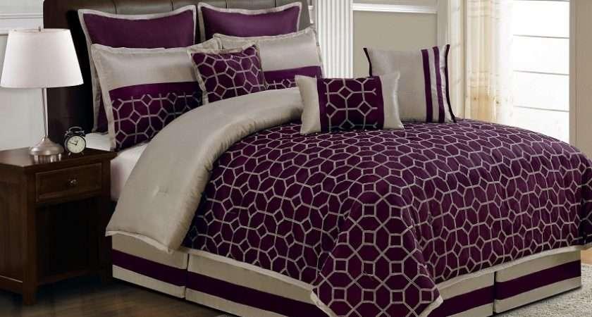 Details Piece Queen Diamante Plum Taupe Comforter Set