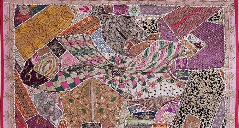 Details Pink Indian Patchwork Fabric Tapestry Wall Hanging Art