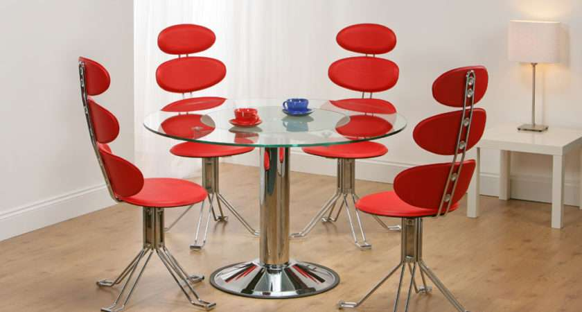 Details Venice Revolving Glass Dining Table Red Chairs