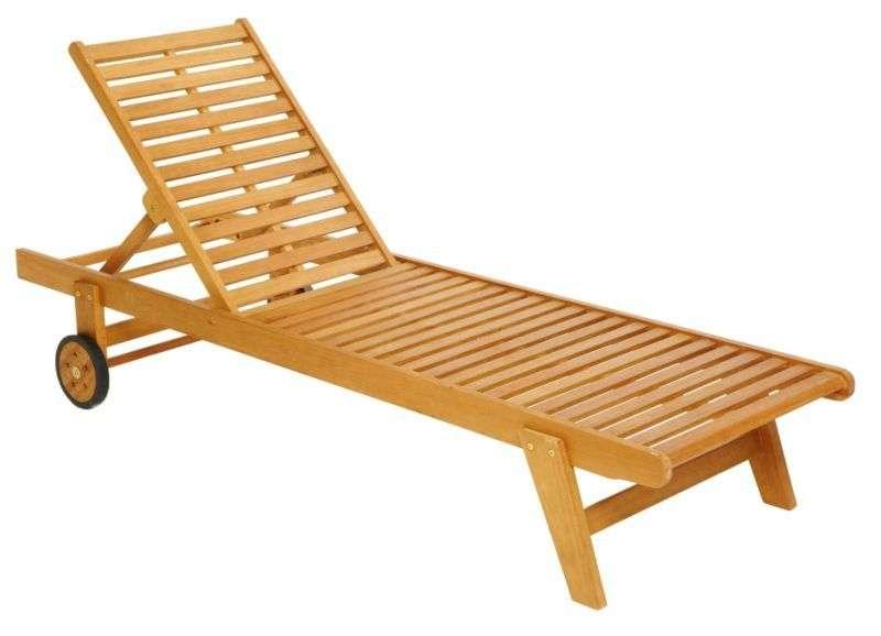Details Wooden Garden Lounger Sunbed Recliner