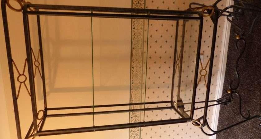 Display Unit Black Wrought Iron Gold Trim Glass