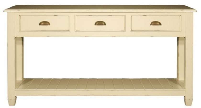 Distressed Old White Painted Console Table