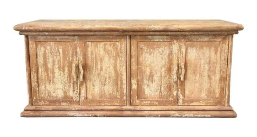 Distressed Rustic Chippy Style Yellow Sideboard Credenza