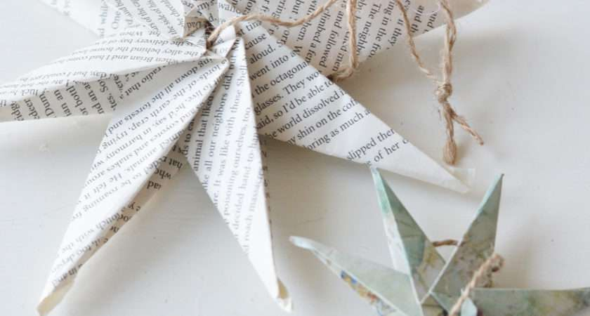 Diy Christmas Ornament Book Map Paper Star