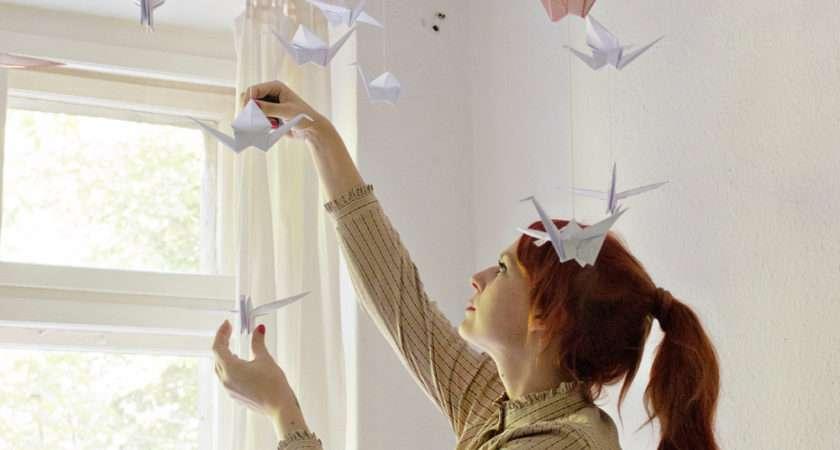 Diy Renters Friendly Origami Ceiling Decoration